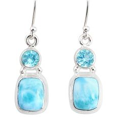 9.04cts natural blue larimar topaz 925 sterling silver dangle earrings r83866