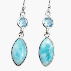 11.37cts natural blue larimar topaz 925 sterling silver earrings jewelry r20911