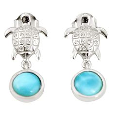Natural blue larimar topaz 925 sterling silver turtle earrings jewelry c15505