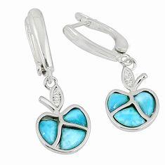 Natural blue larimar topaz 925 sterling silver dangle apple earrings c15506