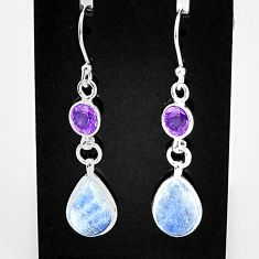 9.77cts natural blue moonstone amethyst 925 silver dangle earrings t4367