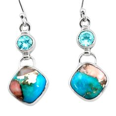 11.57cts natural blue opal in turquoise topaz 925 silver dangle earrings r45821