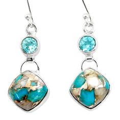 11.82cts natural blue opal in turquoise topaz 925 silver dangle earrings r45823