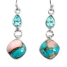 11.25cts natural blue opal in turquoise topaz 925 silver dangle earrings r50963
