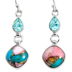 11.23cts natural blue opal in turquoise topaz 925 silver dangle earrings r50968