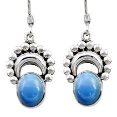 Clearance Sale- 8.28cts natural blue owyhee opal 925 sterling silver dangle earrings d40538