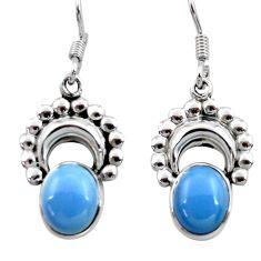 Clearance Sale- 7.97cts natural blue owyhee opal 925 sterling silver dangle earrings d40539