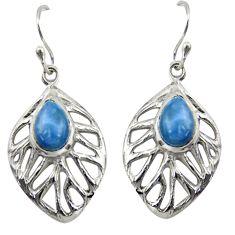 4.52cts natural blue owyhee opal 925 sterling silver dangle leaf earrings r39195