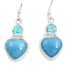 Clearance Sale- 19.40cts natural blue owyhee opal topaz 925 silver dangle heart earrings d39511