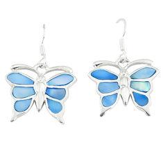 6.25gms natural blue pearl enamel 925 silver butterfly earrings a46334 c14333
