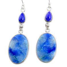 21.93cts natural blue quartz palm stone 925 silver dangle earrings r86961