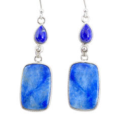 20.10cts natural blue quartz palm stone 925 silver dangle earrings r86962