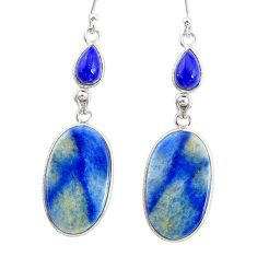 20.04cts natural blue quartz palm stone 925 silver dangle earrings r86963