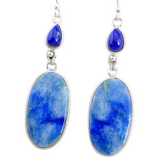 23.36cts natural blue quartz palm stone 925 silver dangle earrings r86964