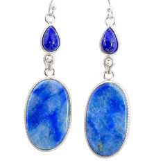 19.61cts natural blue quartz palm stone 925 silver dangle earrings r86966
