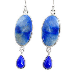 10.33cts natural blue quartz palm stone 925 silver dangle earrings r86967