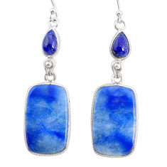 20.04cts natural blue quartz palm stone 925 silver dangle earrings r86968