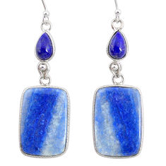23.15cts natural blue quartz palm stone 925 silver dangle earrings r86970
