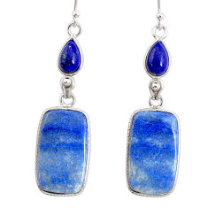 19.49cts natural blue quartz palm stone 925 silver dangle earrings r86971