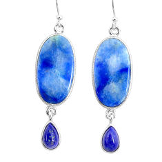 18.97cts natural blue quartz palm stone 925 silver dangle earrings r86972