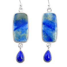 16.92cts natural blue quartz palm stone 925 silver dangle earrings r86975