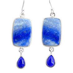 17.25cts natural blue quartz palm stone 925 silver dangle earrings r86976
