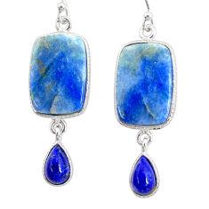 16.92cts natural blue quartz palm stone 925 silver dangle earrings r86978