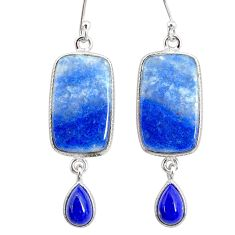 18.18cts natural blue quartz palm stone 925 silver dangle earrings r86979