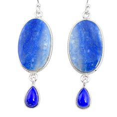 20.50cts natural blue quartz palm stone 925 silver dangle earrings r86981