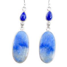 22.02cts natural blue quartz palm stone 925 silver dangle earrings r86982