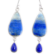 16.83cts natural blue quartz palm stone 925 silver dangle earrings r86983