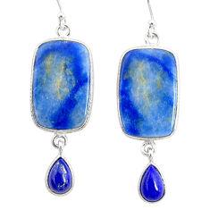 19.98cts natural blue quartz palm stone 925 silver dangle earrings r86985