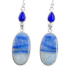 22.54cts natural blue quartz palm stone 925 silver dangle earrings r86986