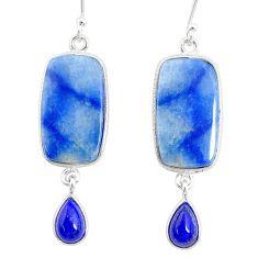 17.07cts natural blue quartz palm stone 925 silver dangle earrings r86989