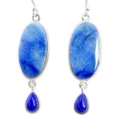 17.76cts natural blue quartz palm stone 925 silver dangle earrings r86992