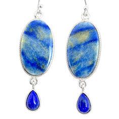 19.41cts natural blue quartz palm stone 925 silver dangle earrings r86993