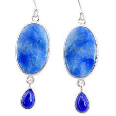 16.09cts natural blue quartz palm stone 925 silver dangle earrings r86994