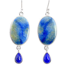 18.45cts natural blue quartz palm stone 925 silver dangle earrings r86996