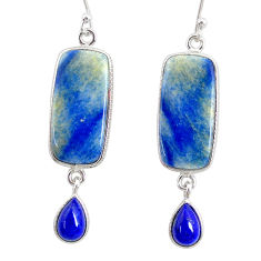15.94cts natural blue quartz palm stone 925 silver dangle earrings r86997