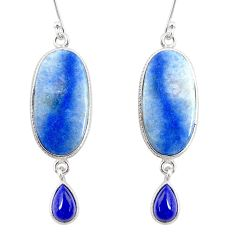 18.82cts natural blue quartz palm stone 925 silver dangle earrings r87000