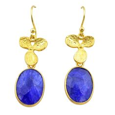 11.73cts natural blue sapphire 925 silver 14k gold birds charm earrings t44053
