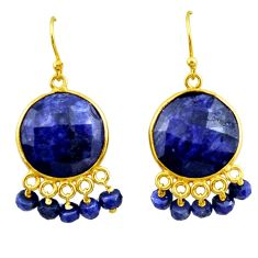 25.83cts natural blue sapphire 925 silver 14k gold chandelier earrings r32579
