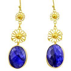 12.75cts natural blue sapphire 925 silver 14k gold dangle earrings r32519