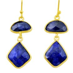 14.59cts natural blue sapphire 925 silver 14k gold dangle earrings r32599