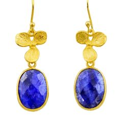 12.18cts natural blue sapphire 925 silver 14k gold dangle earrings r32618