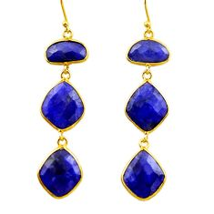 24.58cts natural blue sapphire 925 silver 14k gold dangle earrings r32649