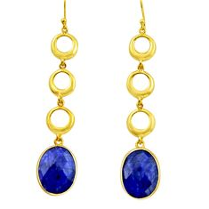 19.94cts natural blue sapphire 925 silver 14k gold dangle earrings r32732