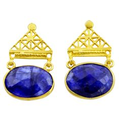 20.40cts natural blue sapphire 925 silver 14k gold dangle earrings r32752