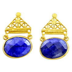 20.34cts natural blue sapphire 925 silver 14k gold dangle earrings r32753