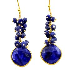 31.65cts natural blue sapphire 925 silver 14k gold dangle earrings r32780
